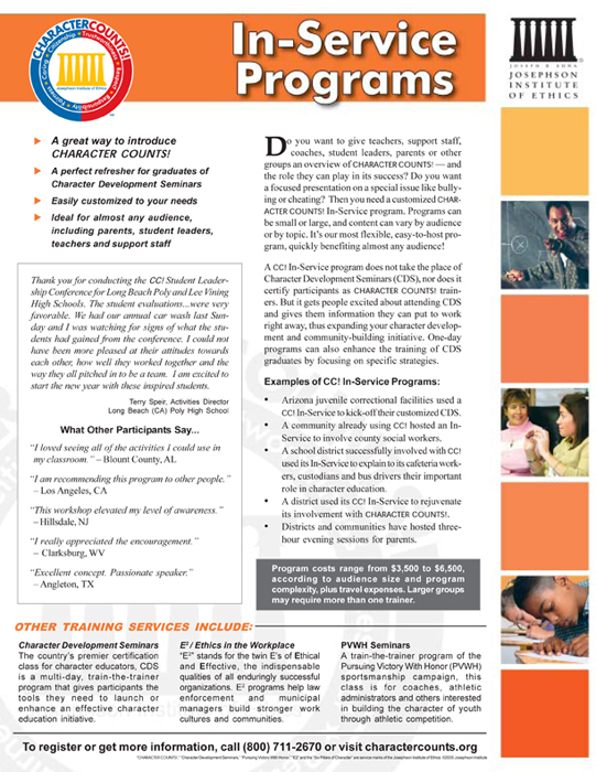 Character Development Seminars brochure - copy writing