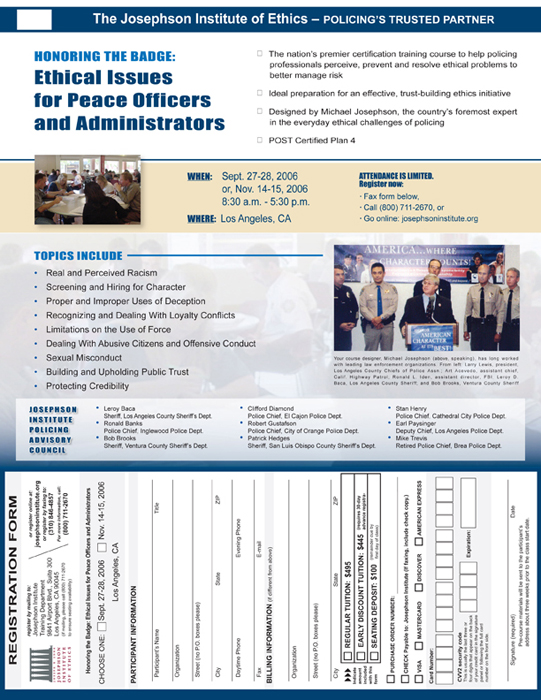 Law Enforcement education program flier - copy writing, design