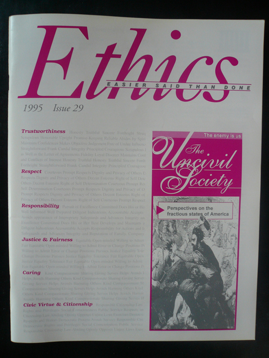 Ethics magazine - writing, editing, design